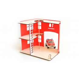 Caserne de pompiers en bois et Priplak rouge - à partir de 8 ans *