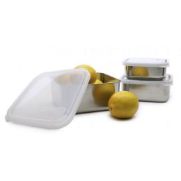Vierkant snackdoosje - Inox - 450 ml