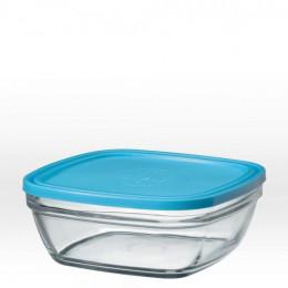 Vierkante glazen slakom met blauw deksel - 20 cm - 200 cl