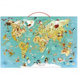 Houten magnetische wereldkaart Le Monde - Vanaf 7 jaar oud