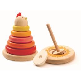 Kleurrijk Houten Stapelspel - Kakelende Kip