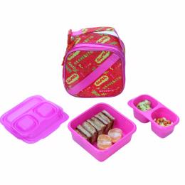 Roze HELLO lunchset met isothermische tas
