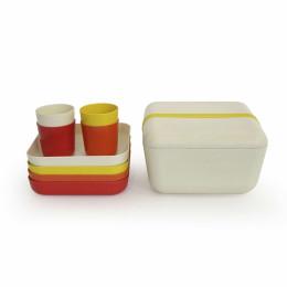 Bamboe picknickset - Lemon/Pepper/Persimmon/White