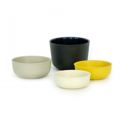 Maatbeker set - Bamboe - Black/Lemon/Stone/White
