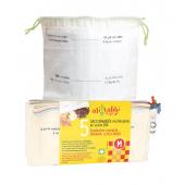 5 herbruikbare gegradueerde zakken in biologisch katoen, gedroogd fruit, granen....maat M