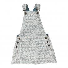 Salopette jurk met blauwe bloemetjes
