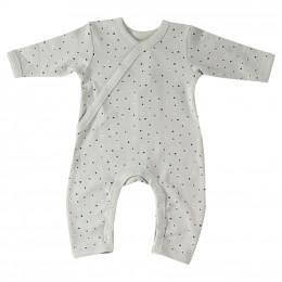 Lichtgroene pyjama in BIO katoen met blauwe en taupe stippen