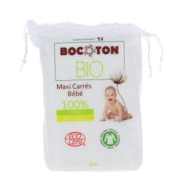 Vierkante Bio-katoenen wattenschijfjes Maxi voor baby's - 60 stuks