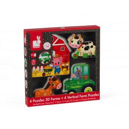 Set van 4 3D puzzels Boerderij vanaf 2 jaar