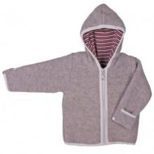 Sweater met kap in fleecewol - Grijs / beige