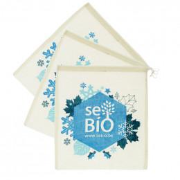 3 herbuikbare dunne zakjes voor fruit en groenten in BIO katoen - Winter Sebio