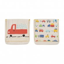 Snack pack: Food bag van BIO Katoen - print Transport - set van 2