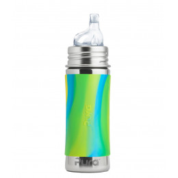 Evolutieve RVS fles - 325 ml - siliconen overgangsuitloop - vanaf 6 maanden - Aqua wirl