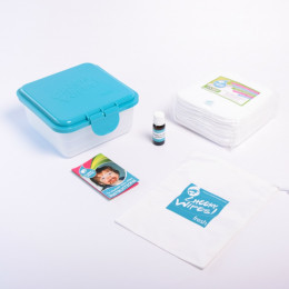 Mini kit doekjes - Bamboe - wit - Roos / geranium