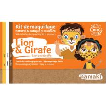 Biologische schminkdoos 3 kleuren - Leeuw en giraf - vanaf 3 jaar oud