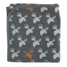 Omkeerbare deken in biologisch katoen - 72 x 72 cm - Eland Teal
