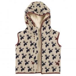 Omkeerbaar mouwloos vest van BIO katoen Teddy - Eland - Pumice