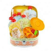 Koffer van herbruikbare compotzakjes + accessoires - Sophie de giraf