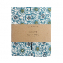 Boterhamzakje - 35 x 40 cm - Blauwe bloemen