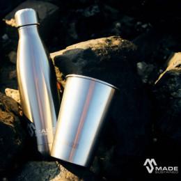 100% Roestvrijstalen drinkfles - Geborsteld metaal - 750 ml