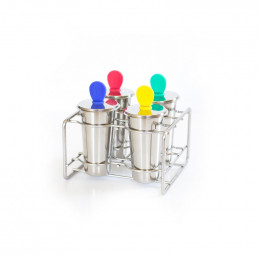 Set de 4 moules à glaces inox avec bâtonnets inox 120ml