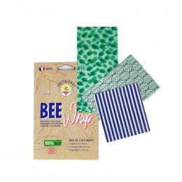 Emballage alimentaire réutilisable à base de cire d'abeille BIO - Set de 3 tailles