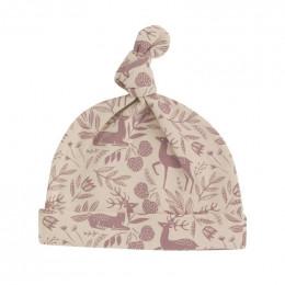 Bonnet blanc en coton BIO - Taupe rose
