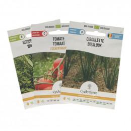 Biologische zaden - Trio pack - Bieslook, rucola & kerstomaatjes