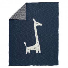 Gebreide wiegdeken Giraf indigo