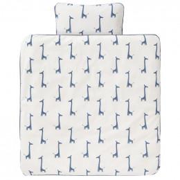 Eenpersoons dekbedovertrek - giraf indigo blue (140x200)