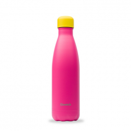 Gourde bouteille nomade isotherme - 500 ml - Colors - Rose bouchon jaune