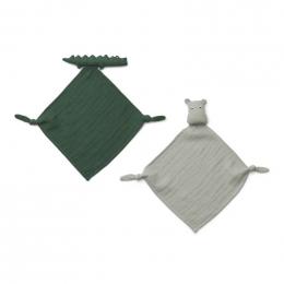 Set van 2 Yoko mini knuffeldoekjes - Safari green mix