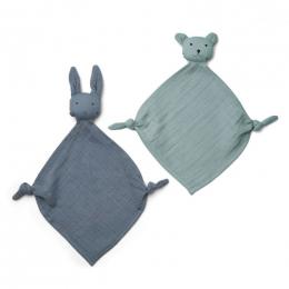 Set van 2 Yoko Mini Knuffeldoekjes - Blue Mix