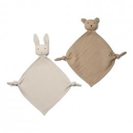 Set van 2 Yoko mini knuffeldoekjes - Sandy/stone beige