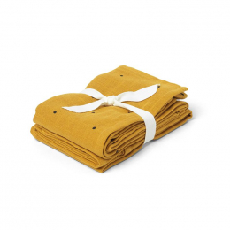 Set van 2 Hannah tetradoeken Classic dot mustard - 70 x 70 cm