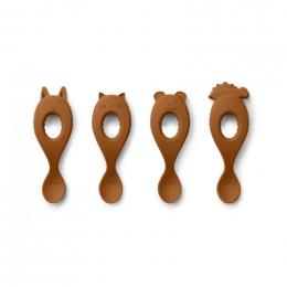 Set van 4 Liva siliconen lepels - Mustard