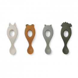 Set van 4 Liva siliconen lepels - Hunter green mix