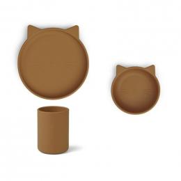 Cyrus junior siliconen eetset - Cat mustard