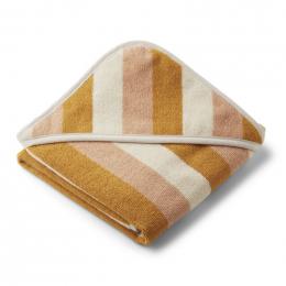 Alba baby badcape - Y&D stripe: Peach & sandy & yellow mellow