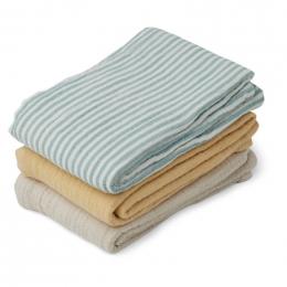 Set van 3 tetradoeken Line - Sea blue stripe mix