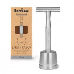 Metalen scheermes + houder - Safety Razor - Silver
